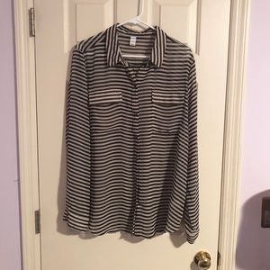 Old Navy Striped Button Up Blouse